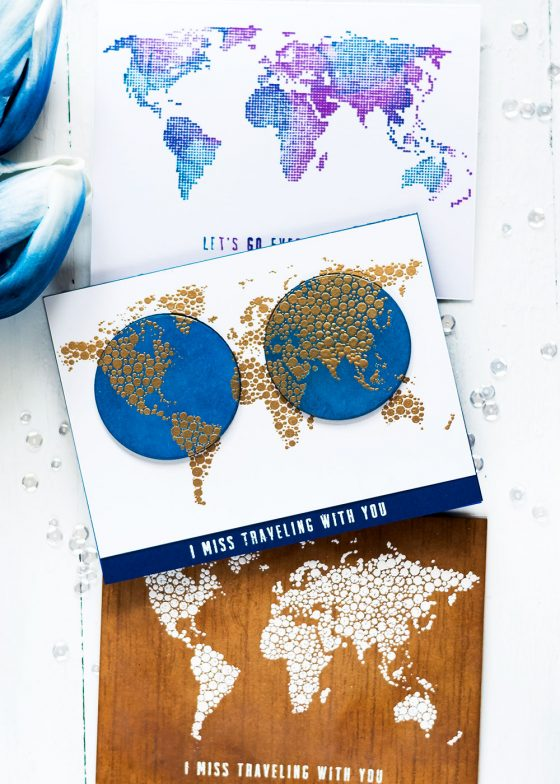 Altenew World Map Stamp Focus. Cards by Svitlana Shayevich