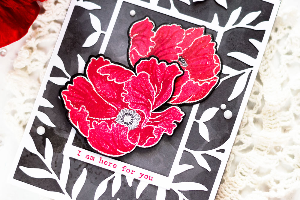 Altenew Build-A-Flower Poppy. Card by Svitlana Shayevich