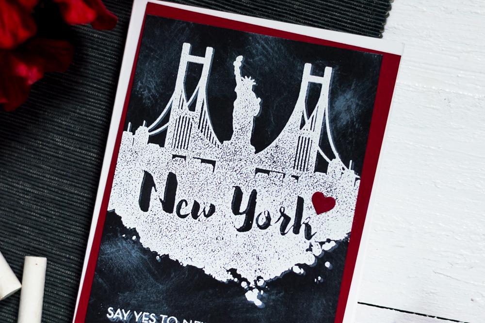 Chalkboard city scene card with Altenew New York Stamp Set. Card by Svitlana Shayevich