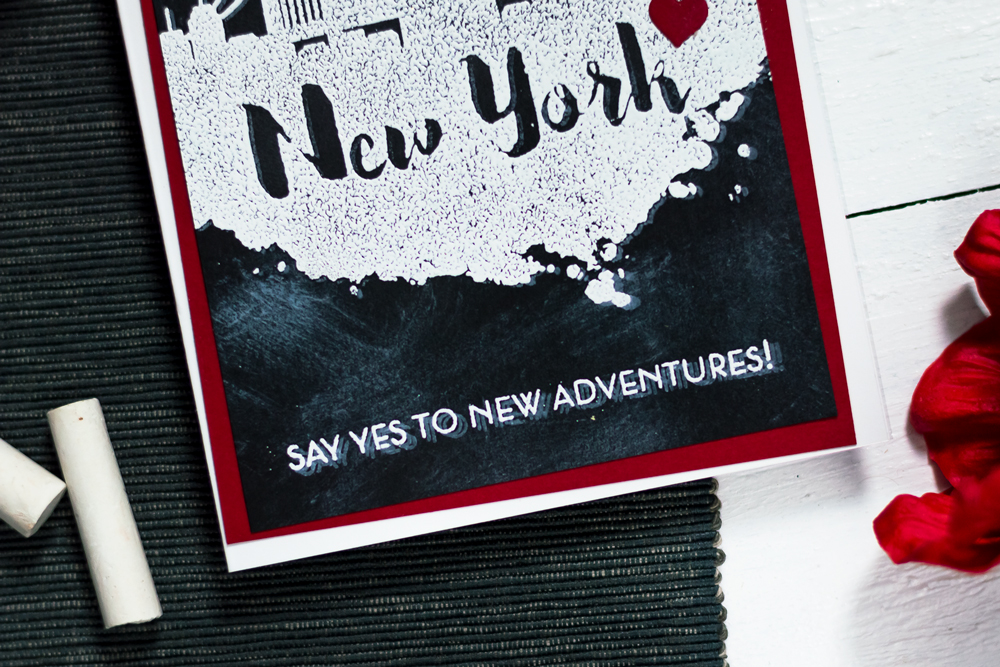 Chalkboard city scene card with Altenew New York Stamp Set. Card by Svitlana Shayevich