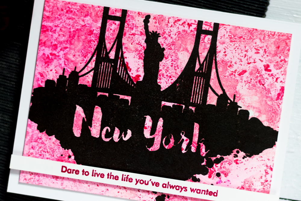 City scene card with Altenew New York Stamp Set. Marble Background. Card by Svitlana Shayevich