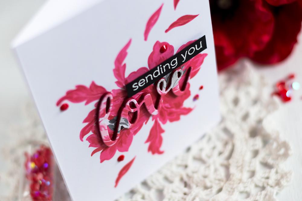 Spotlight Technique card with Altenew Angelique Motifs. Card by Svitlana Shayevich