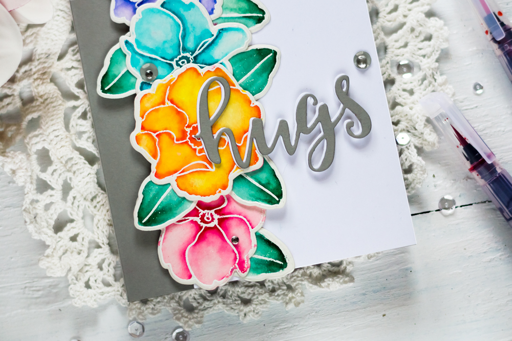 Spring Card with Altenew Delicate Primrose Stamp Set and Watercolor Brush Markers. Card by Svitlana Shayevich