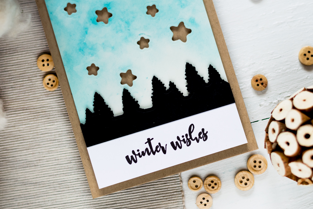 Winter Wishes Card with Altenew Evergreen DIe. Card by Svitlana Shayevich