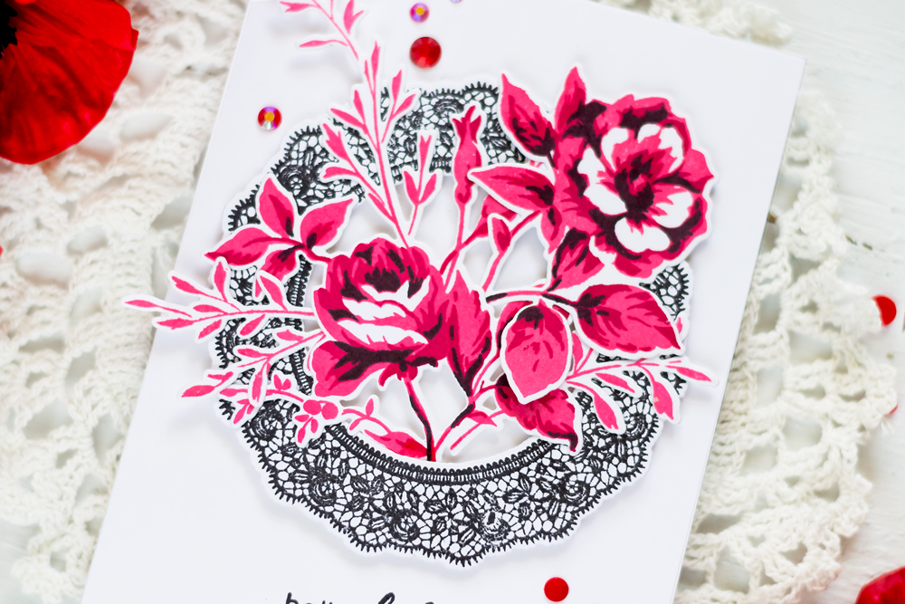 Elegant card with Altenew Dainty Bouquet and Fancy Frames. Card by Svitlana Shayevich