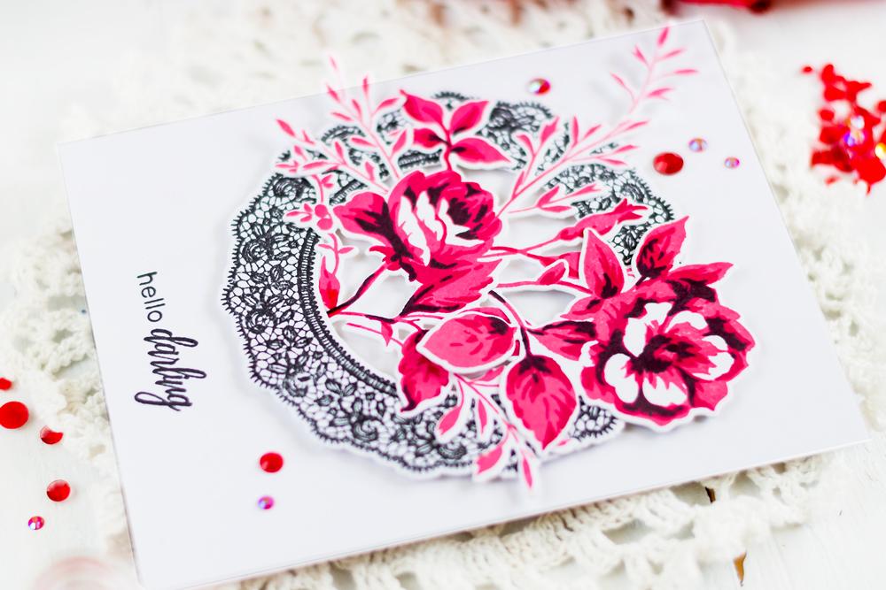 Elegant card with Altenew Dainty Bouquet and Fancy Frames. Card by Svitlana Shayevich