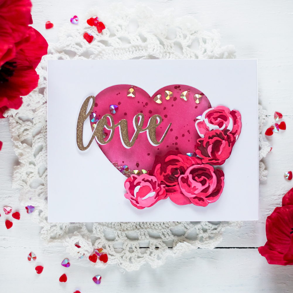 Valentine Card with Altenew Garden Picks Die. Card by Svitlana Shayevich