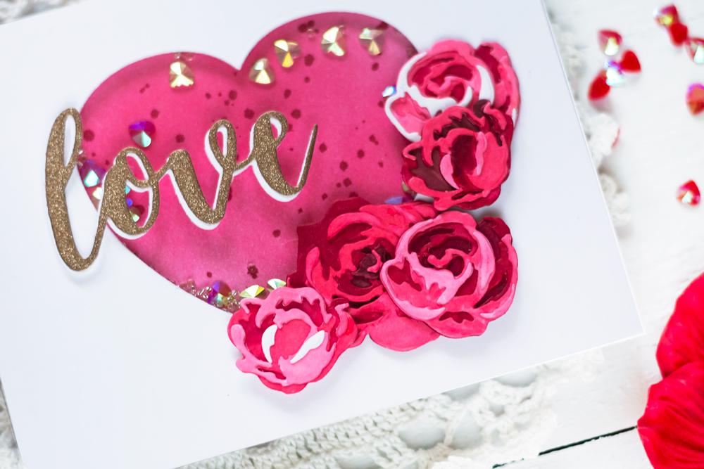 Valentine Card with Altenew Garden Picks Die. Card by Svitlana Shayevich