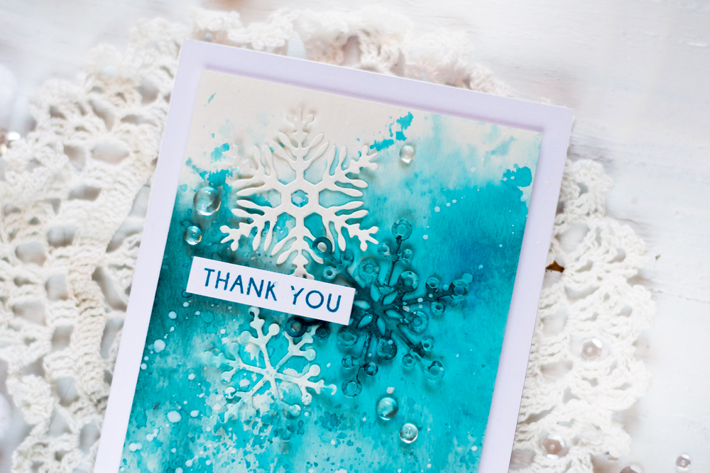 Winter Thank You Card with Altenew Layered Snowflakes. Card by Svitlana Shayevich