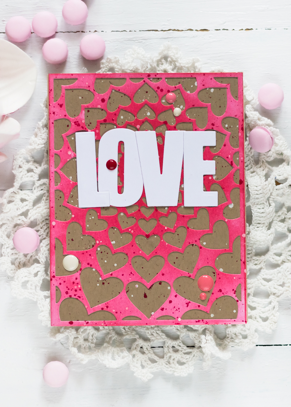 Valentine Card with Altenew Radial Hearts Die. Card by Svitlana Shayevich