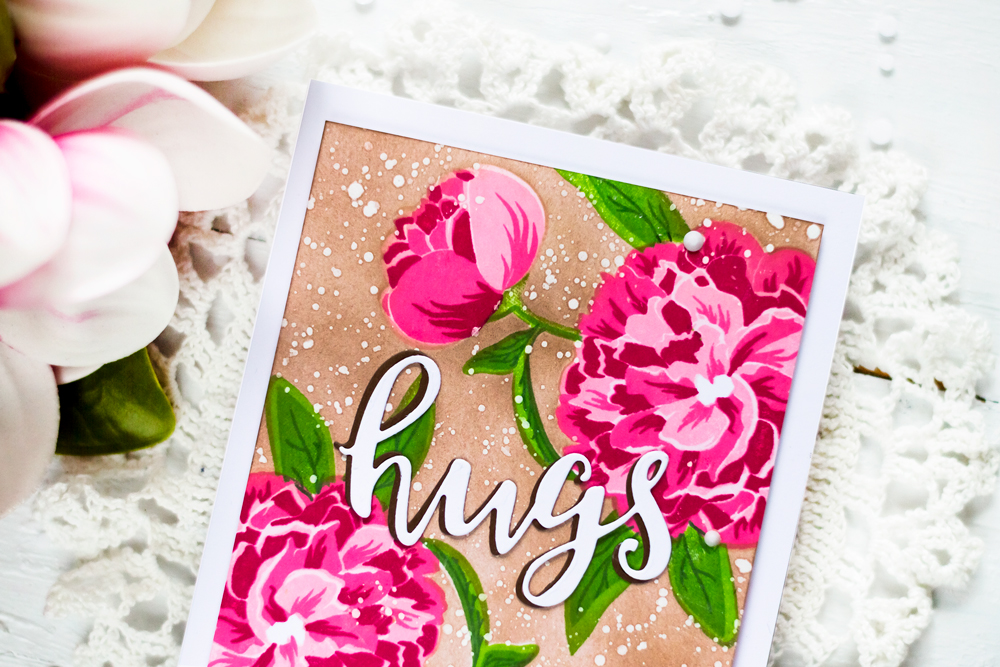 PInk flowers on kraft background. With Altenew Bloom And Bud Stamp Set. Card by Svitlana Shayevich
