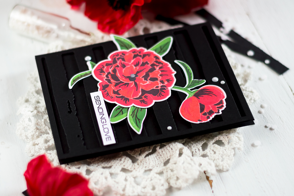Black background with pop of color. With Altenew Bloom And Bud and Watercolor Frames. Card by Svitlana Shayevich