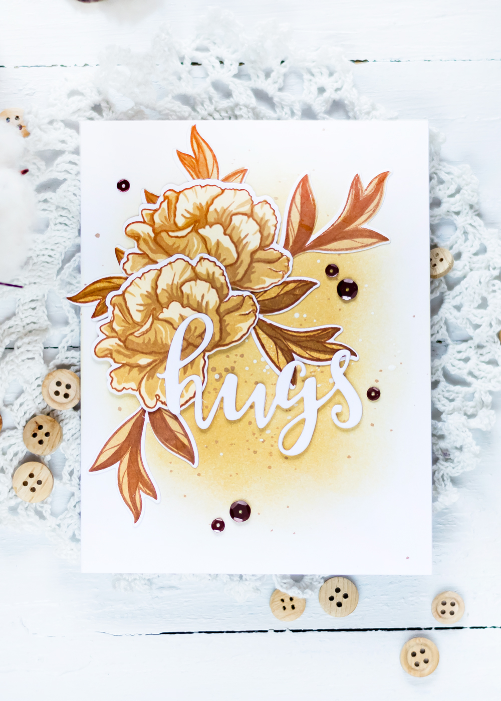Monochromatic card with Altenew Frilled Petals Stamp Set. Card by Svitlana Shayevich