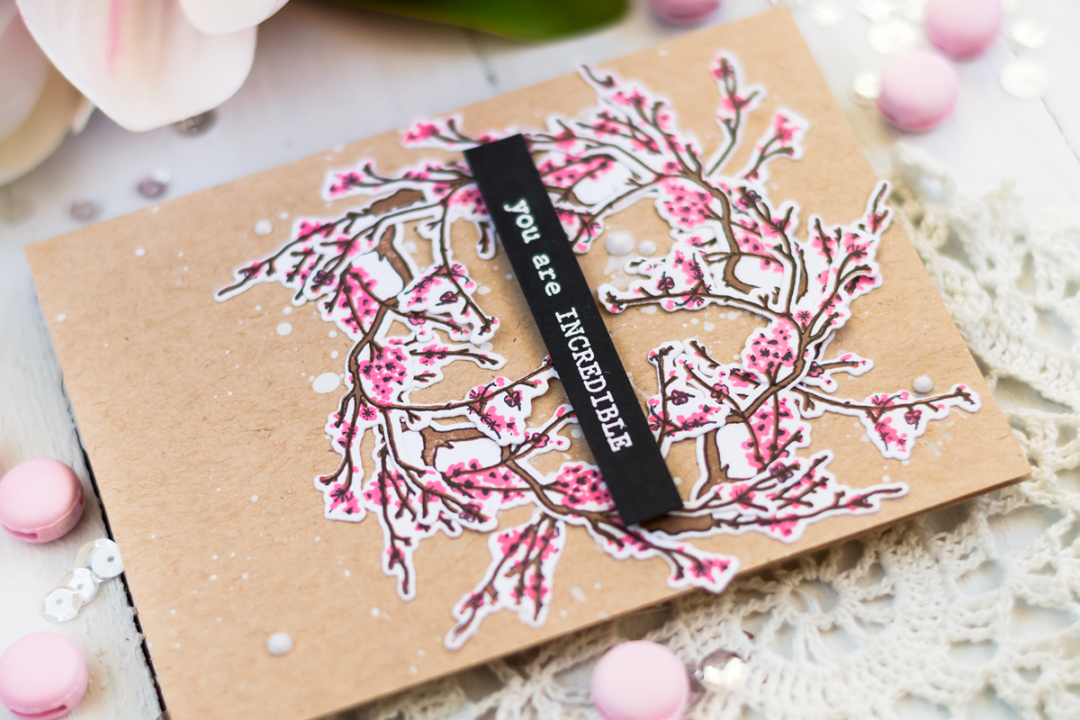 Spring card with sakura blossom wreath using Altenew Under The Cherry Tree Stamp Set. Card by Svitlana Shayevich