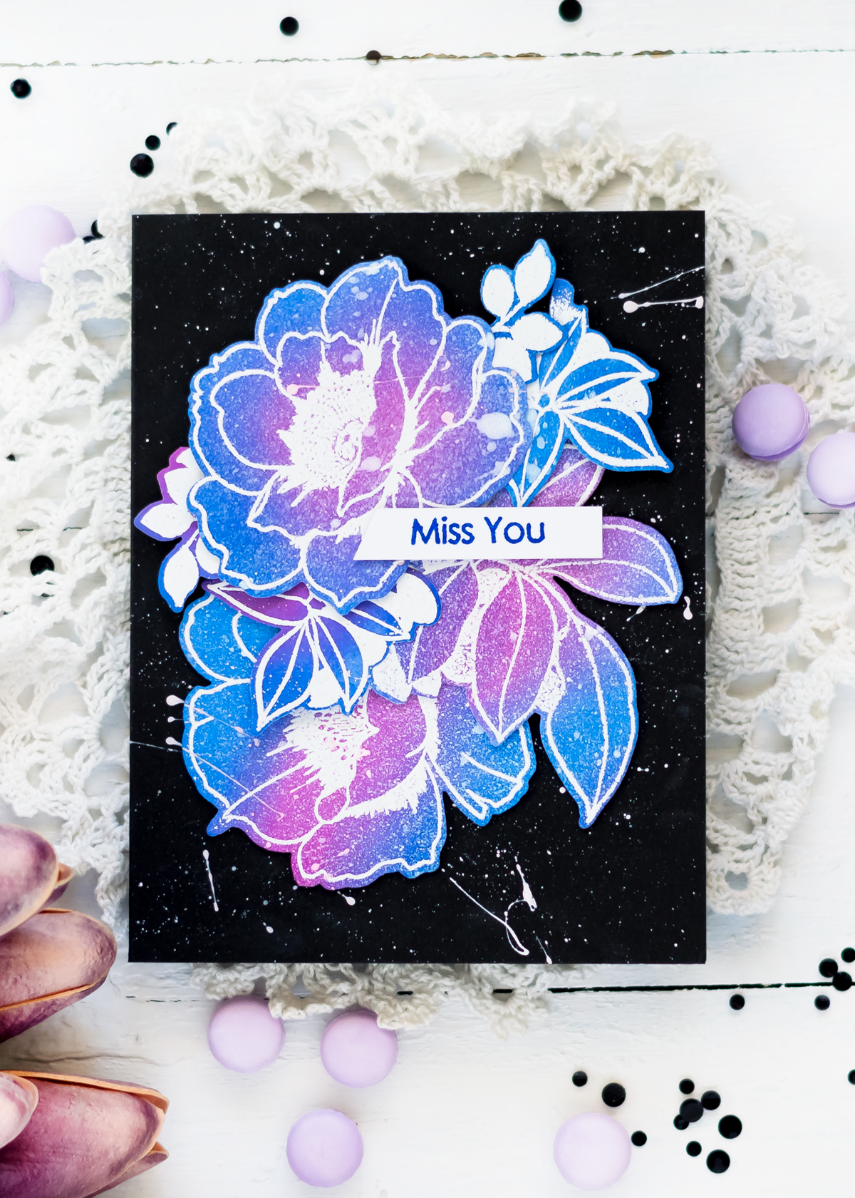 Floral Galaxy Card with Altenew Wallpaper Art Stamp Set. Card by Svitlana Shayevich