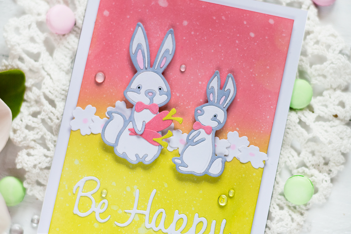 Spellbinders Small Die if the Month. Easter card with cute bunnies. Card by Svitlana Shayevich