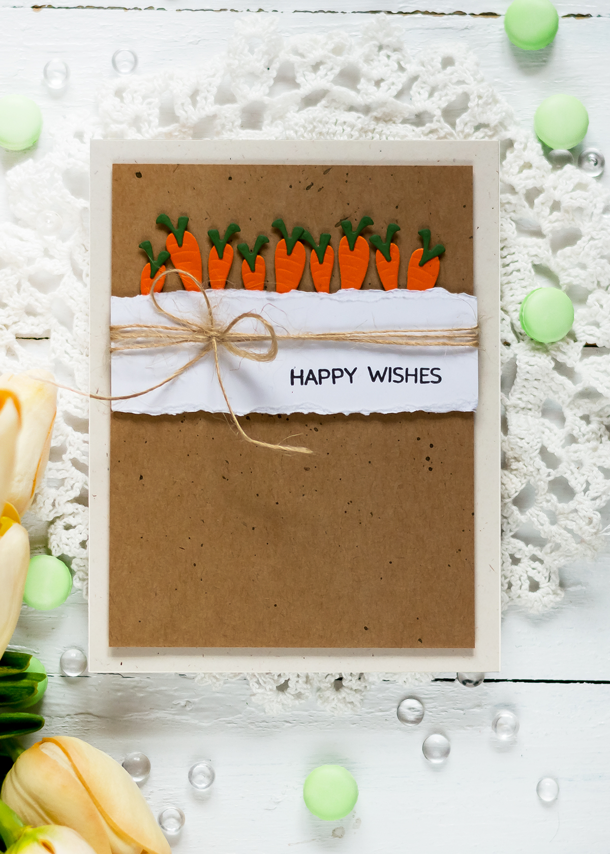 Spellbinders Small Die if the Month. Easter card with carrots. Card by Svitlana Shayevich