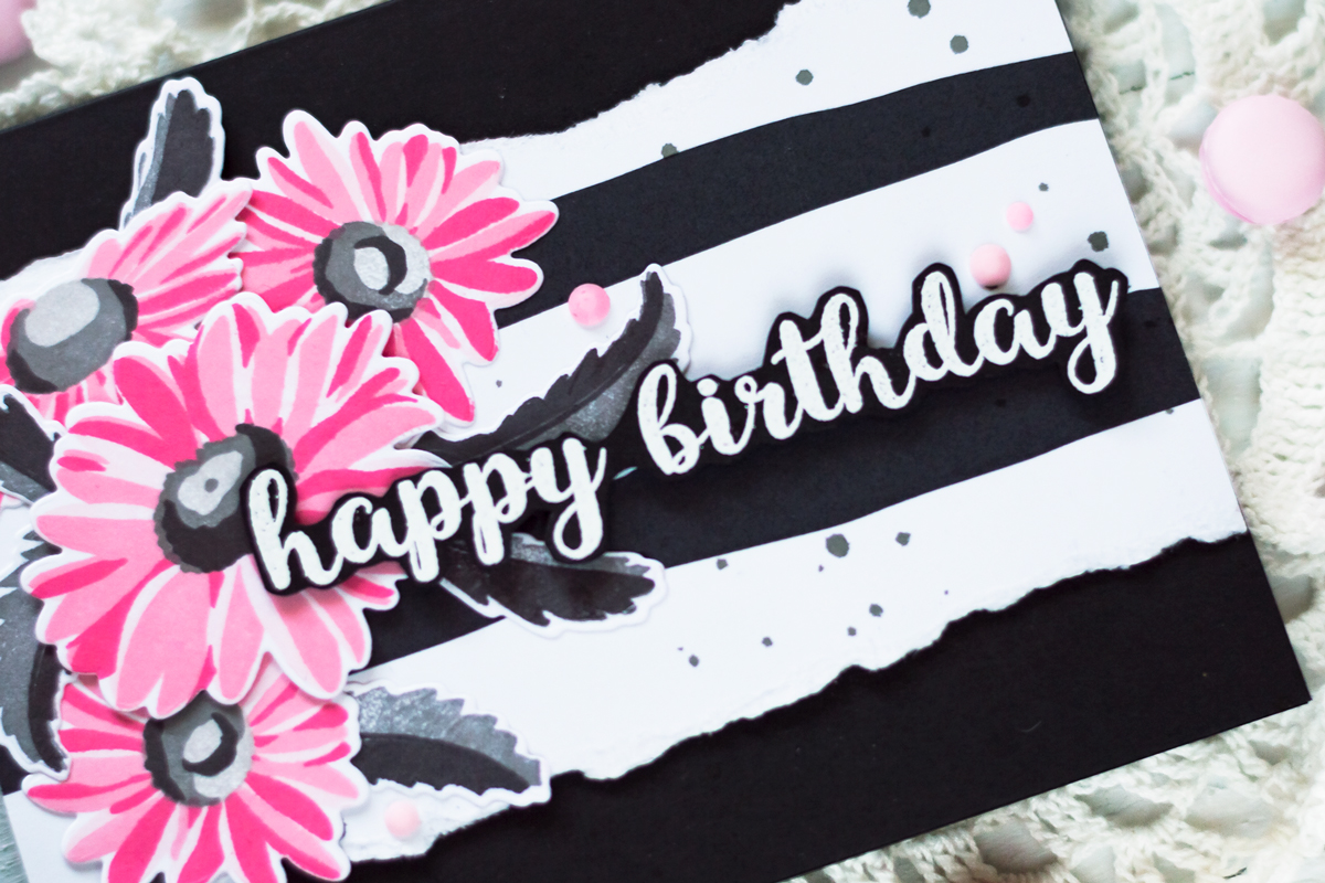 Birthday card wtih Altenew Belowed Daisy Stamp Set. Card by Svitlana Shayevich