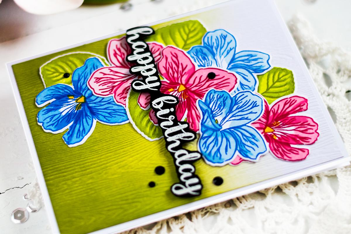 Altenew Build-A-Flower Sweet Violet. Card by Svitlana Shayevich
