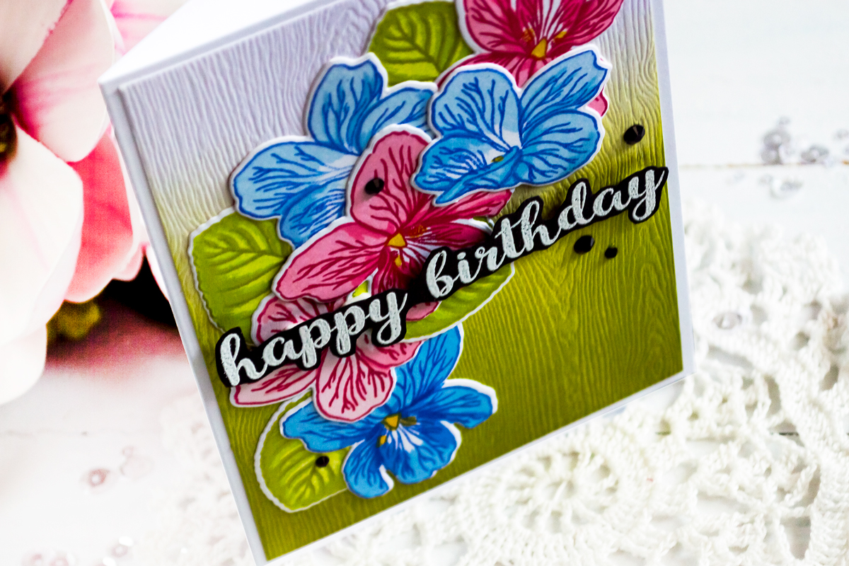 Altenew Build-A-Flower Sweet Violet. Card by Svitlana Shayevich