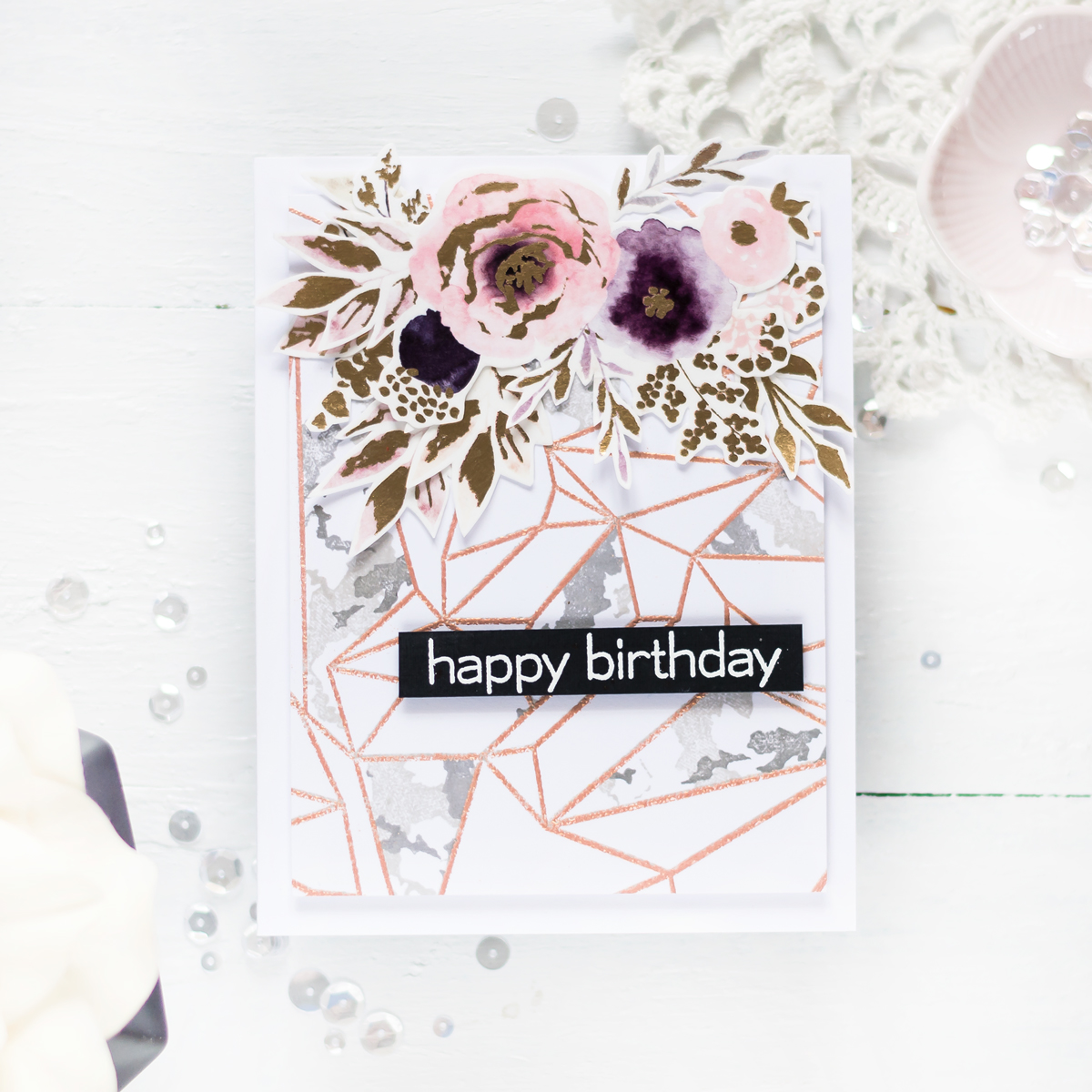 Rose Gold and Marbe Card featuring Altenew Washi Tape and Geometric Landscape Stamp Set. Card by Svitlana Shayevich