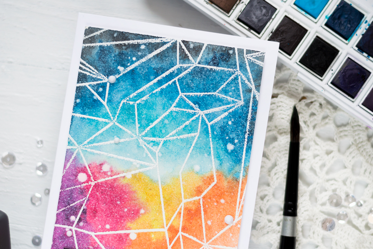Watercolor Galaxy Card featuring Altenew Geometric Landscape Stamp Set. Card by Svitlana Shayevich