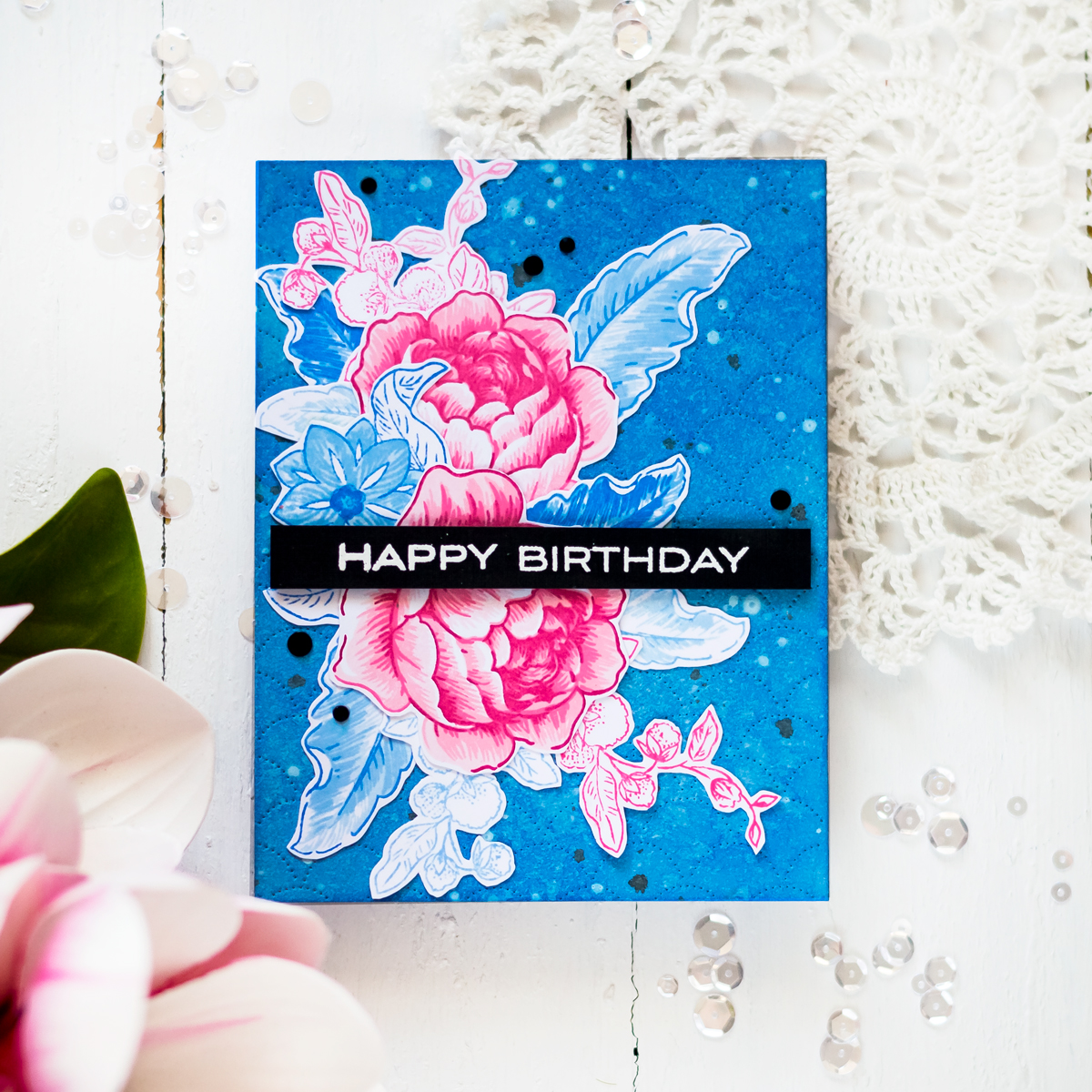 Wallpaper like card featuring Altenew Rose Bloom Stamp Set. Card by Svitlana Shayevich