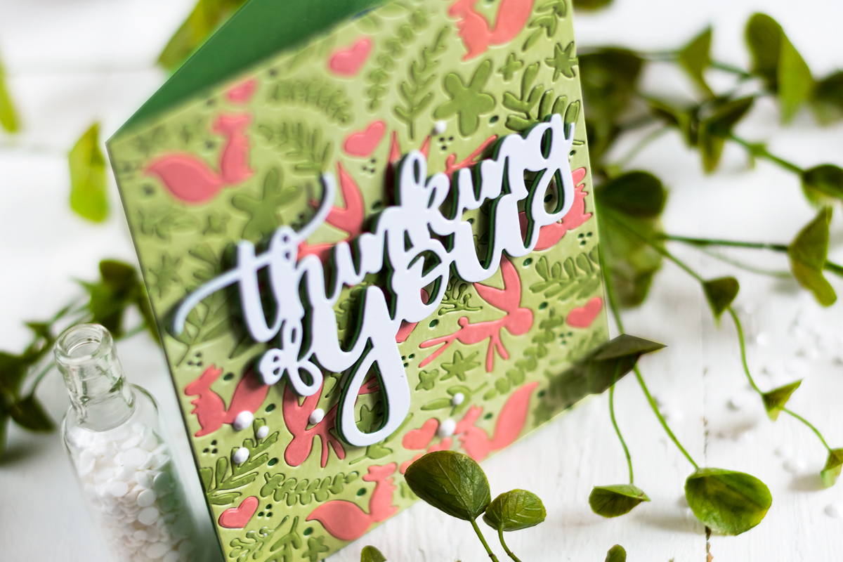 Multi color die-cut inlay with Altenew Spring Meadow Cover Die. Card by Svitlana Shayevich