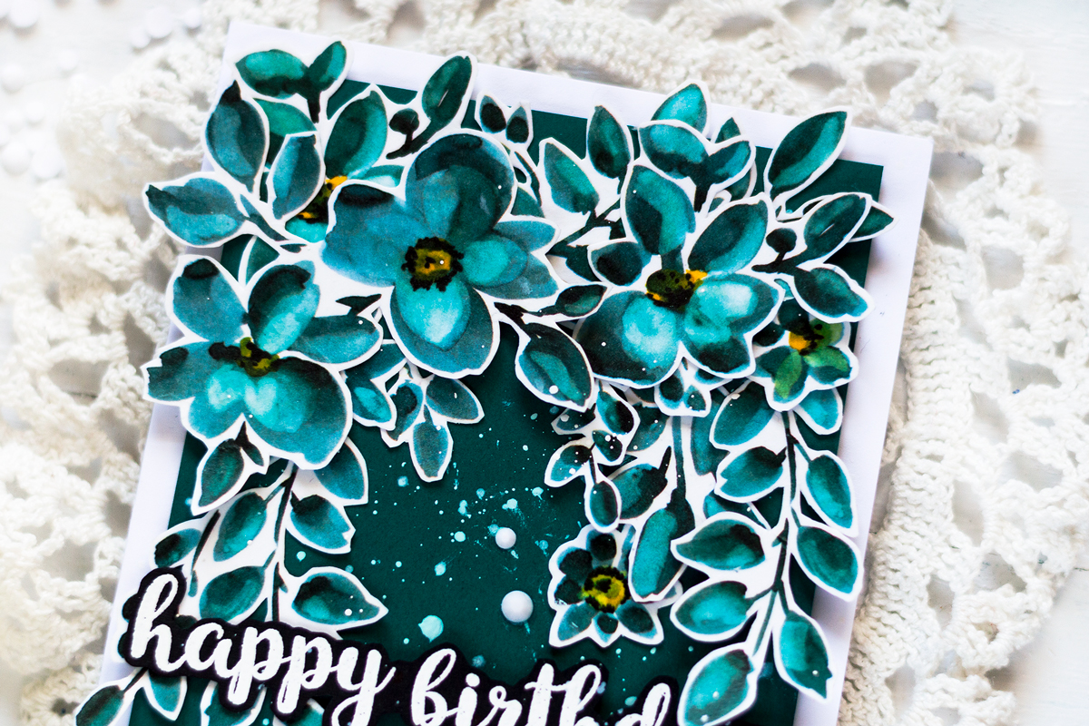 Teal monocromatic card featuring Altenew Teal Shadow Washi Tape. Card by Svitlana Shayevich