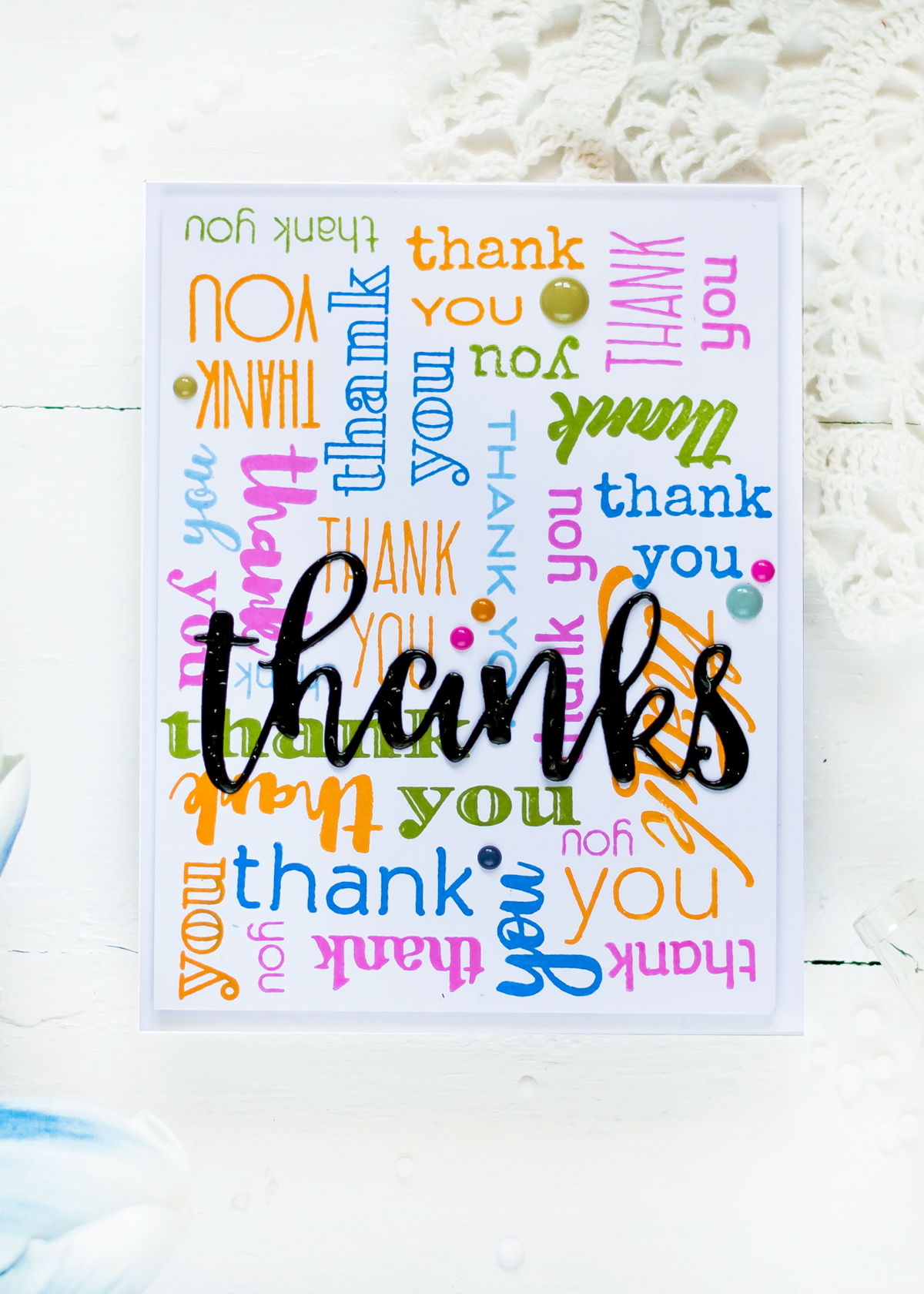 Stamped background with Altenew Thank You Builder Background Stamp Set. Card by Svitlana Shayevich