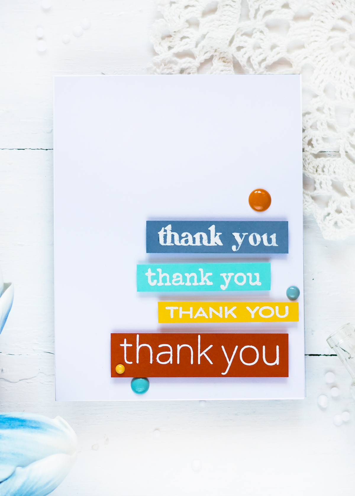 Clean and Simple Card with Altenew Thank You Builder Background Stamp Set. Card by Svitlana Shayevich