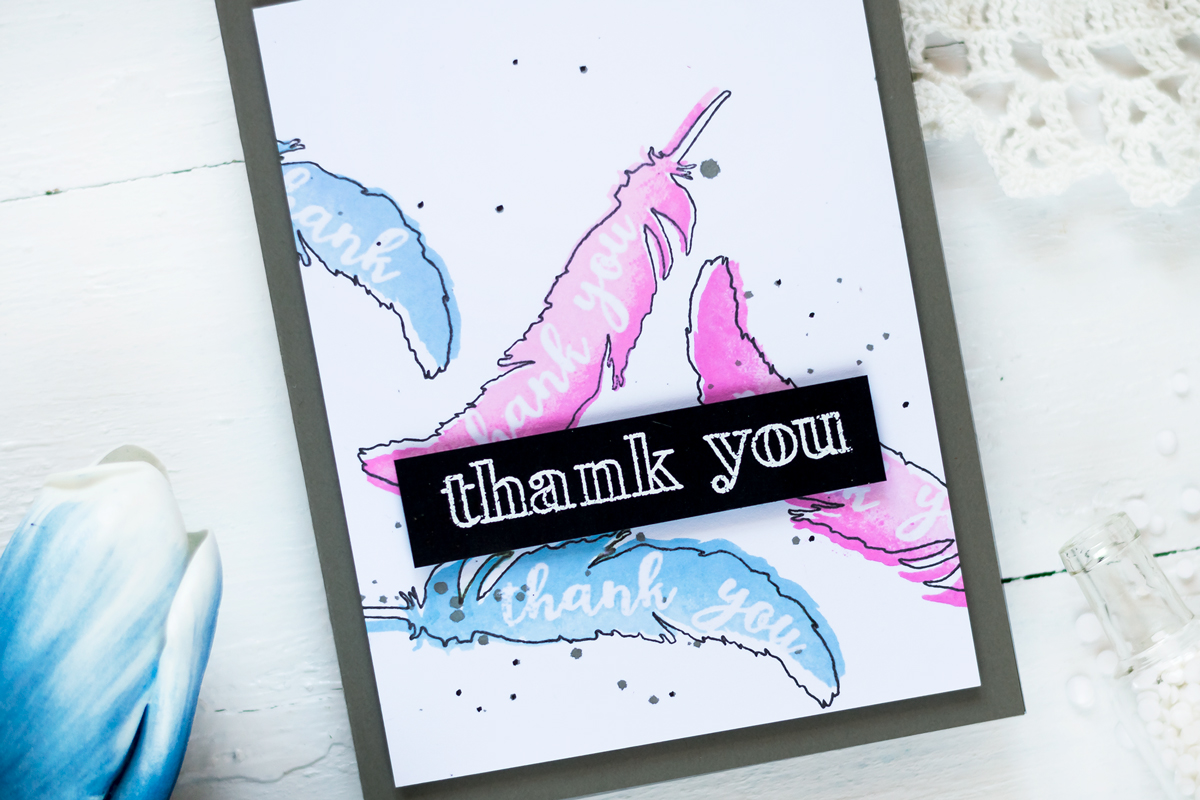 Feather Card with Altenew Thank You Builder Background Stamp Set. Card by Svitlana Shayevich