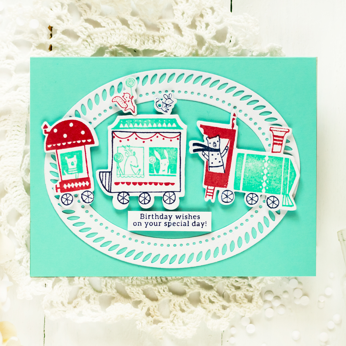 Pinkfresh Studio Train Ride. Card by Svitlana Shayevich