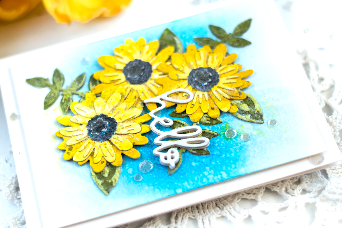 Spellbinders Small Die Of the Month April. Layered Colorful Blooms. Card by Svitlana Shayevich