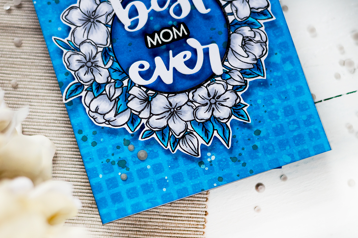 Blue monochromatic Mother's Day card with Studio Katia Floral Wreath. Card by Svitlana Shayevich