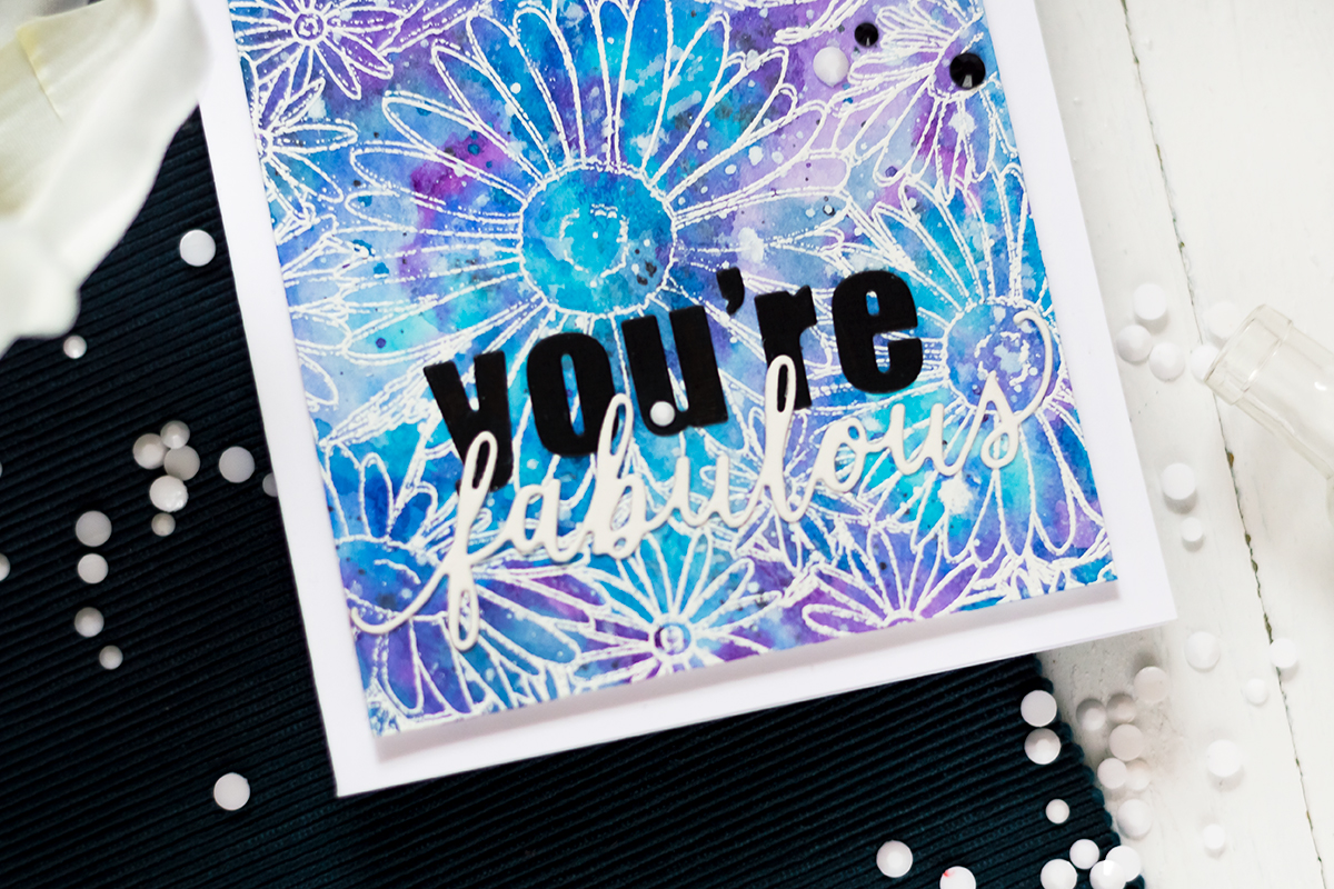 Floral Galaxy Card with The Ton Daisy Fields Background. Card by Svitlana Shayevich
