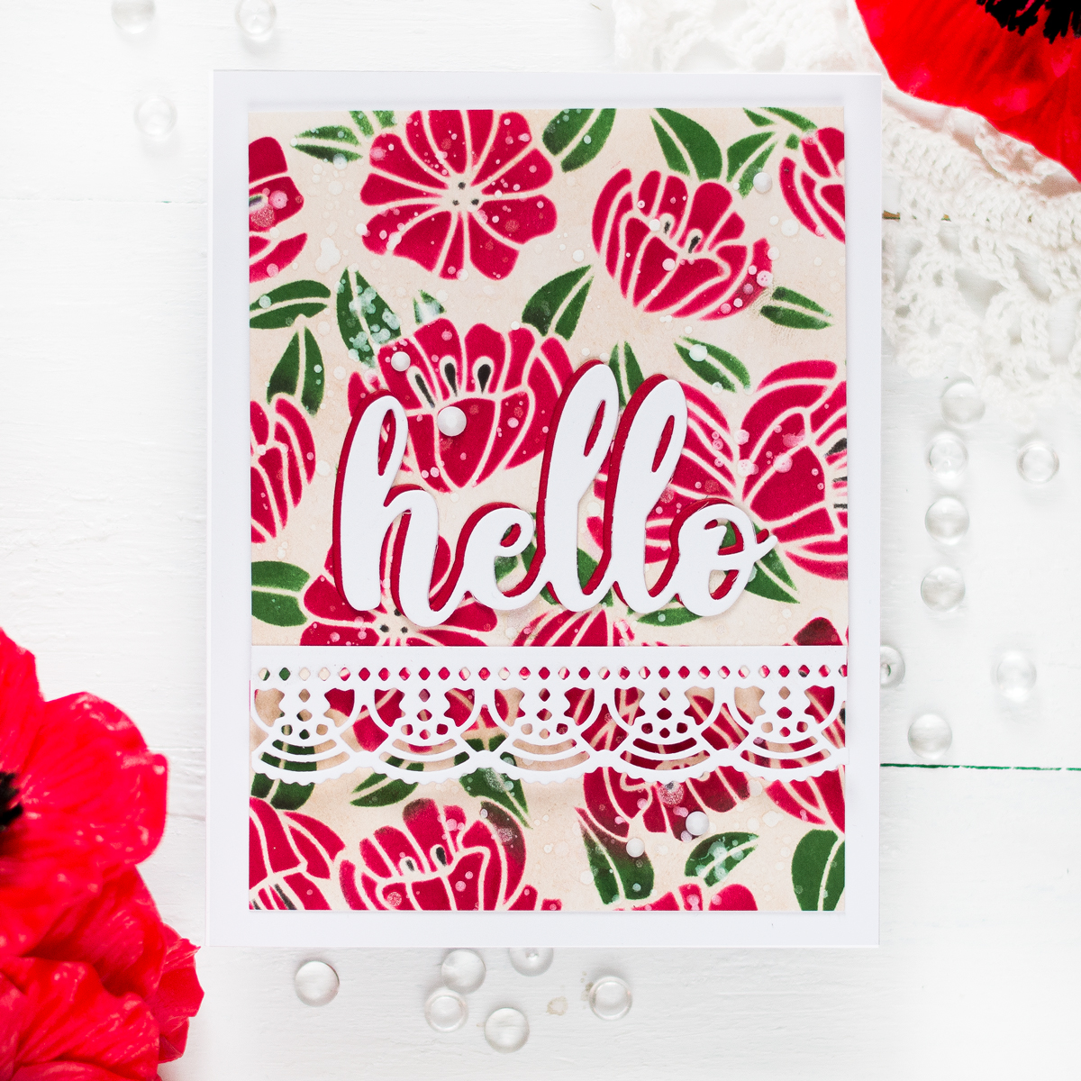 Create an easy floral background using a layering stencil and ink blending. Card by Svitlana Shayevich