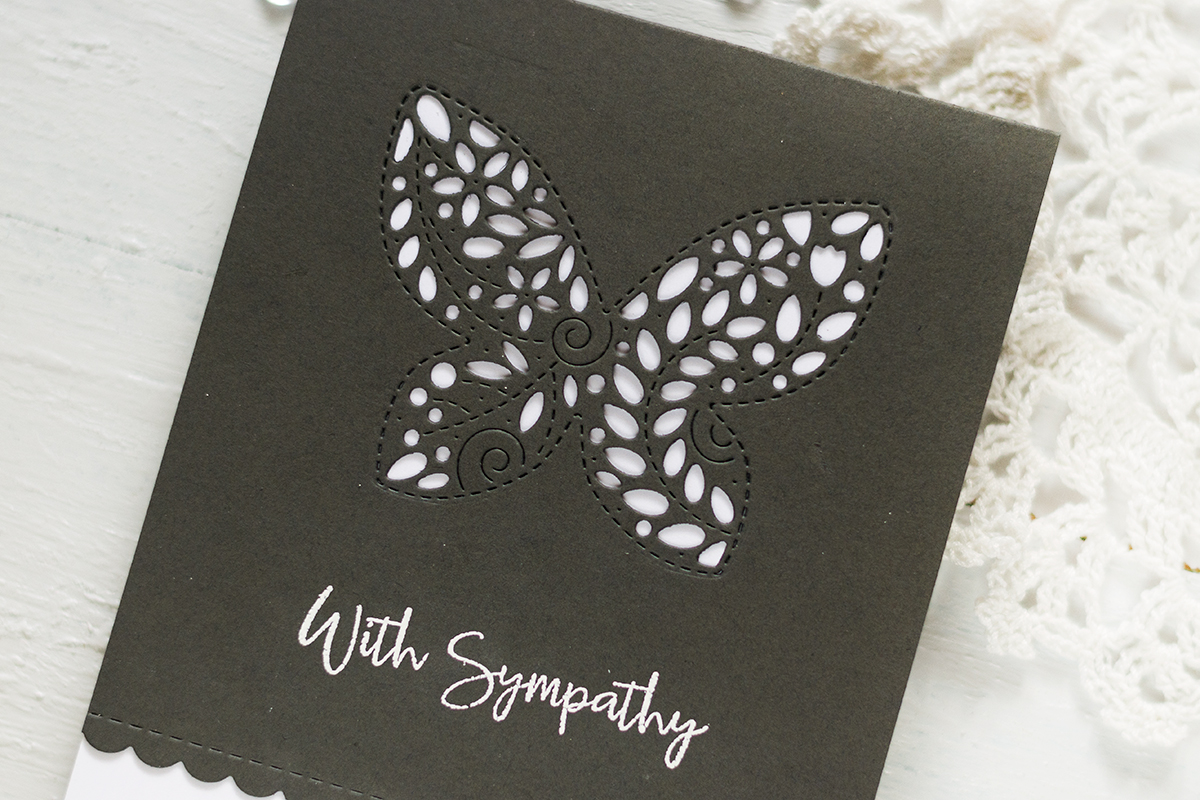Easy and Simple Sympathy Card Design Idea using a butterfly die from Simon Stamp Set. Card by Svitlana Shayevich