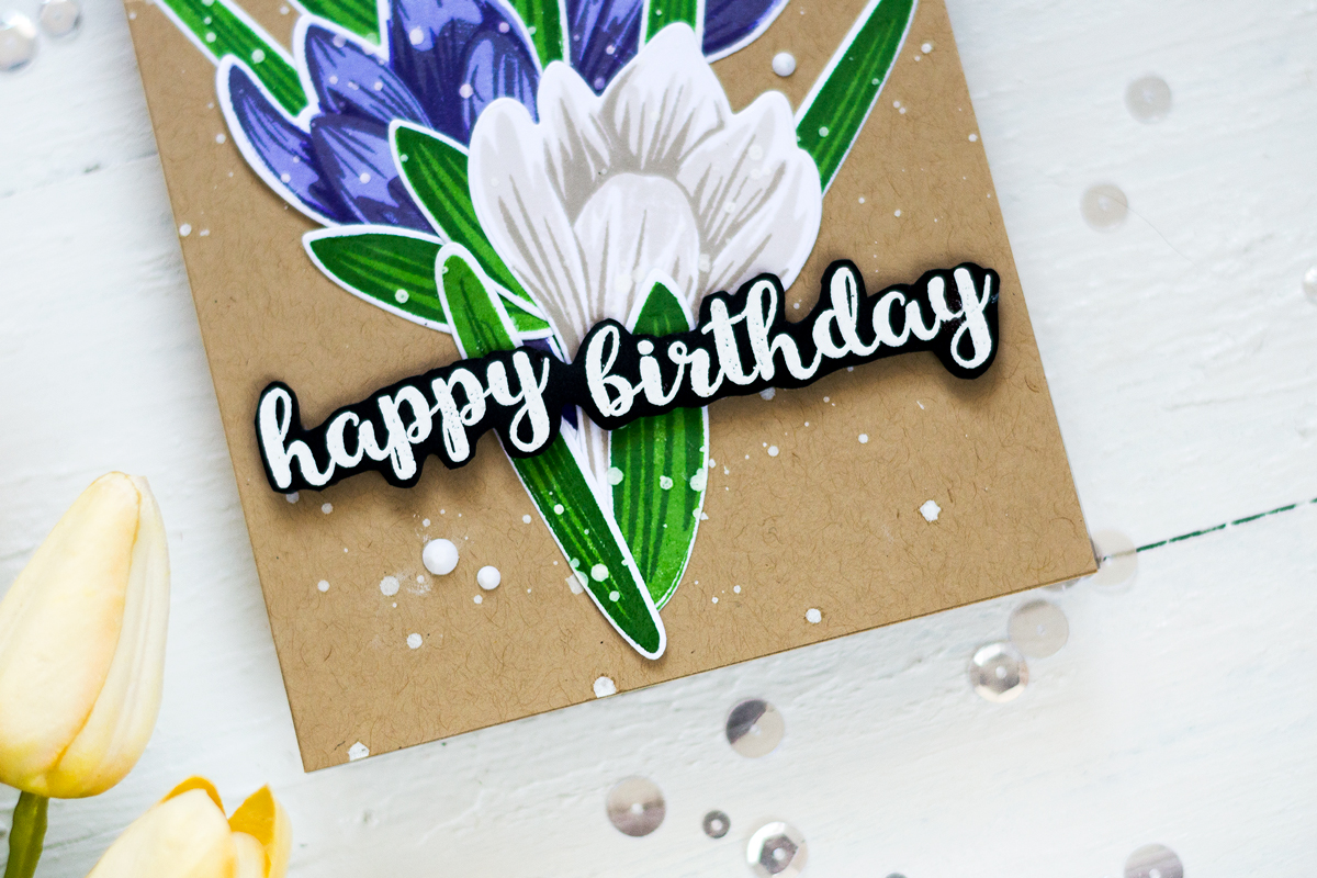 Create a crocus birthday card using layering stamping. Card by Svitlana Shayevich