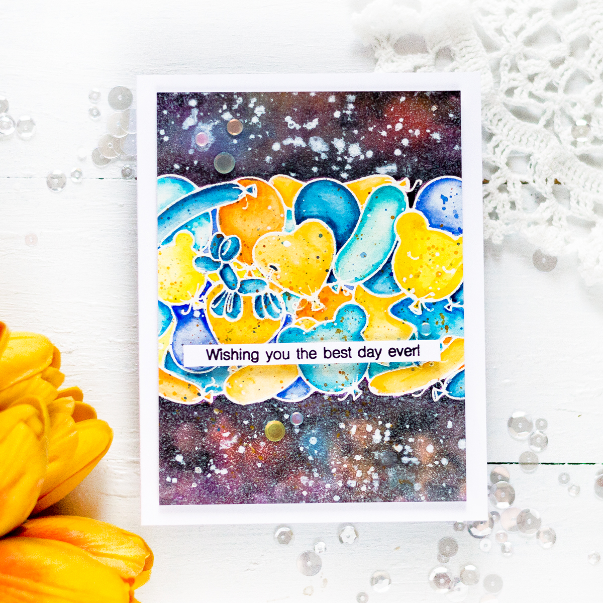 Birthday Galaxy Balloons Card. Card by Svitlana Shayevich