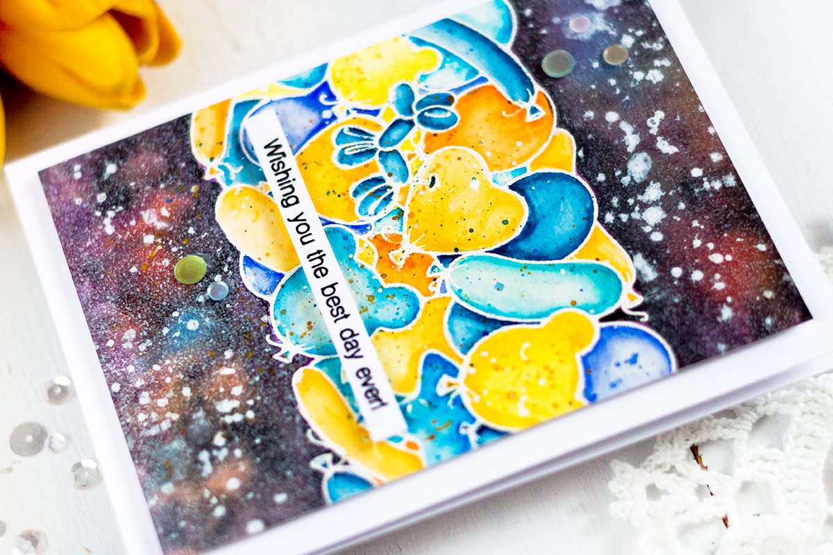 Birthday Galaxy Balloons Card. by Svitlana Shayevich