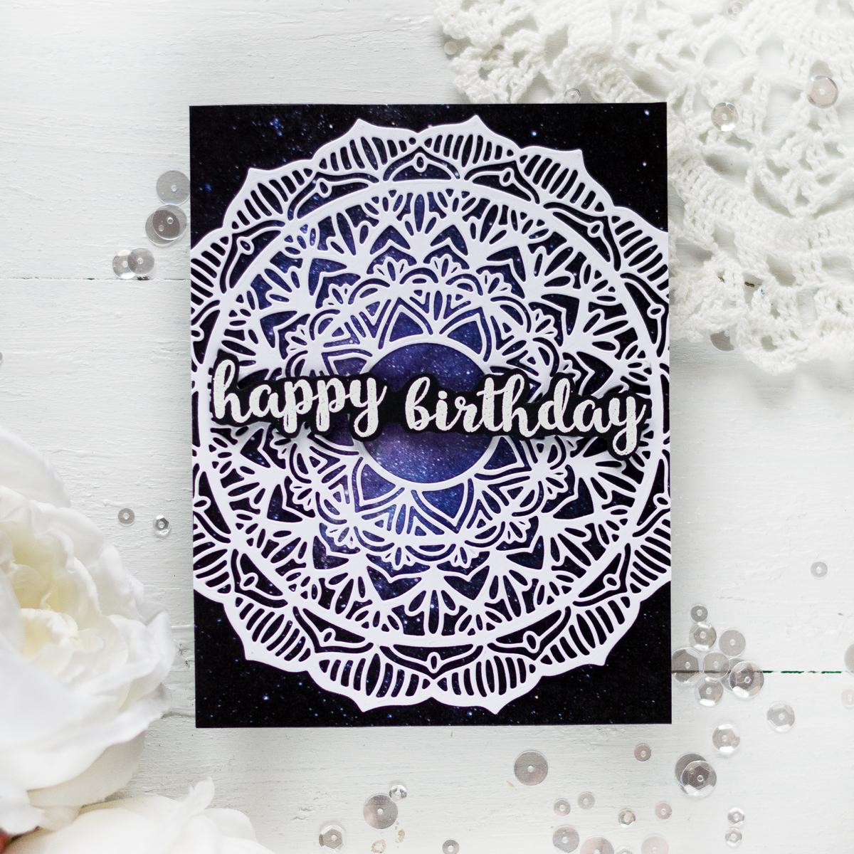 Birthday card using galaxy washi tape and mandala die . Card by Svitlana Shayevich