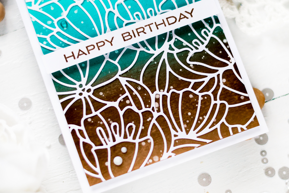 Floral cover die over an ink blended background. Card by Svitlana Shayevich