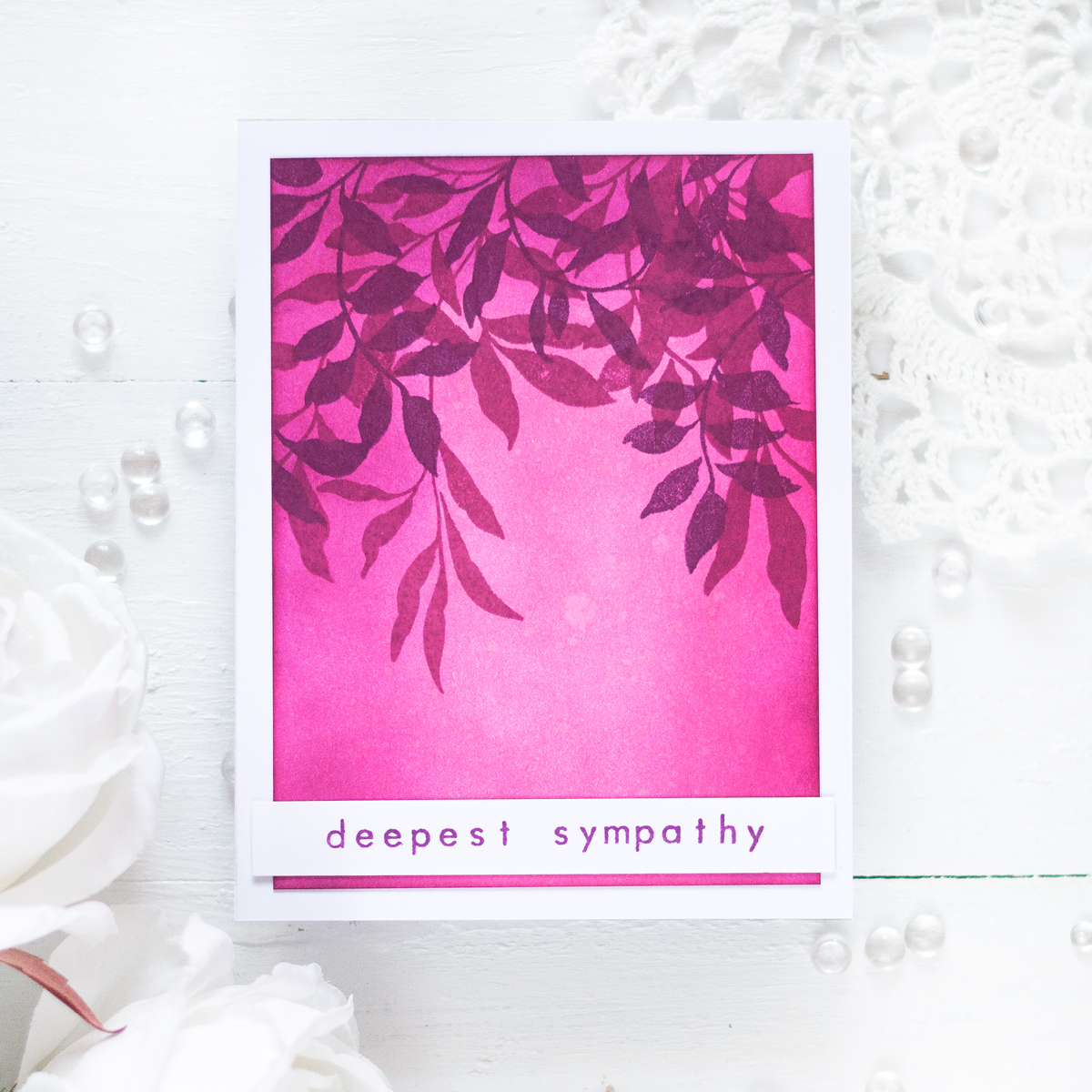 Violet leaves sympathy card . Card by Svitlana Shayevich