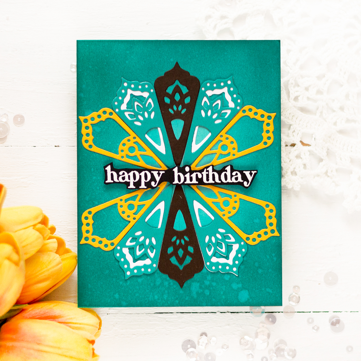 Spellbinders Small Die Of The Month June Kaleidoscope Trio. Card by Svitlana Shayevich