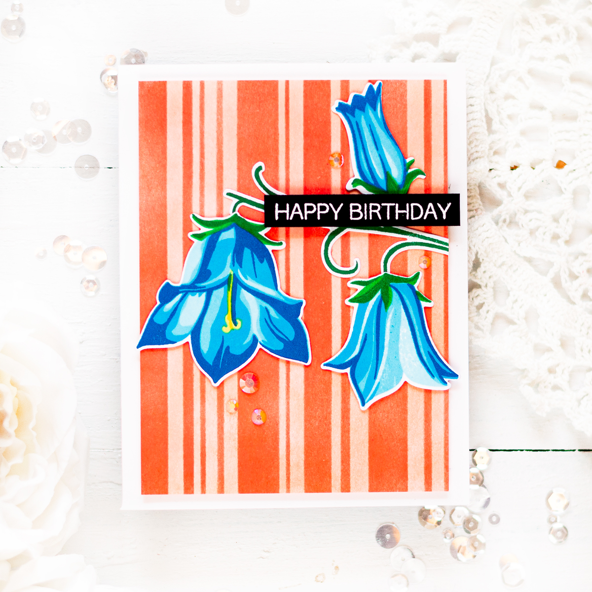 Bellflower thank you card with stripped background. Card by Svitlana Shayevich