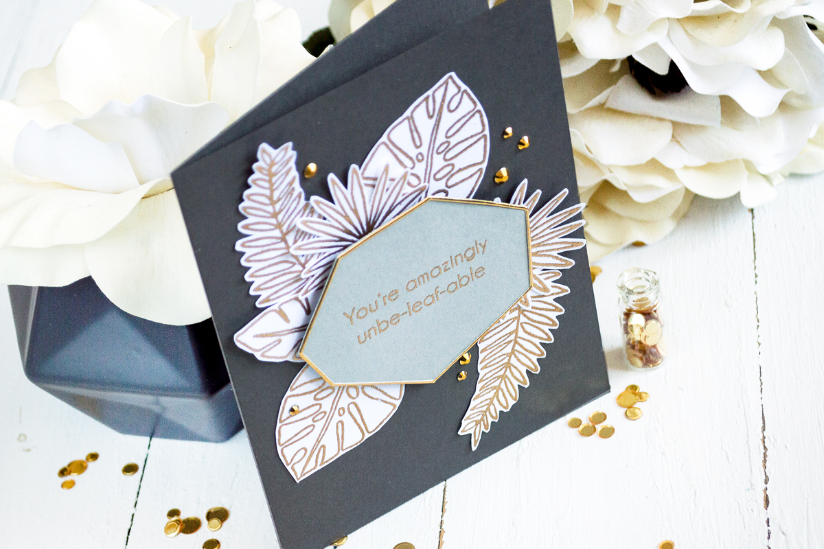 Gold and gray geometric tropical card. Card by Svitlana Shayevich