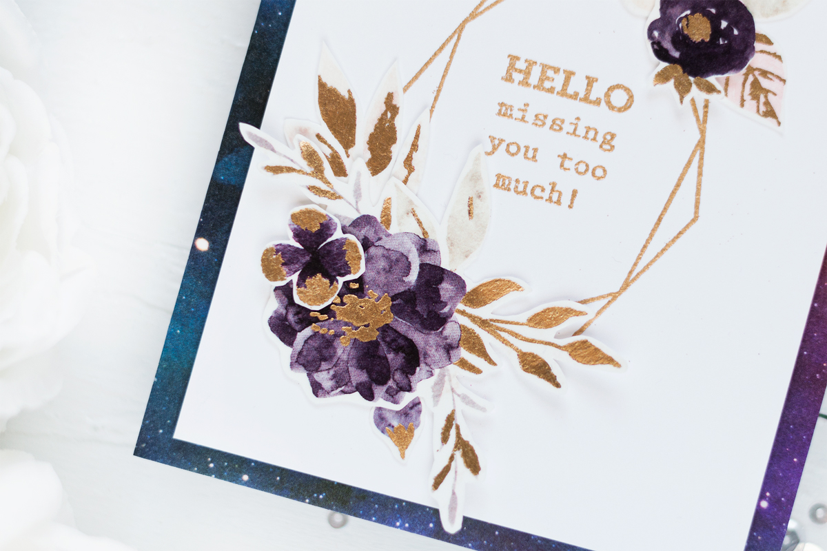 Elegant Gold and Purple Geometrical Card. Card by Svitlana Shayevich