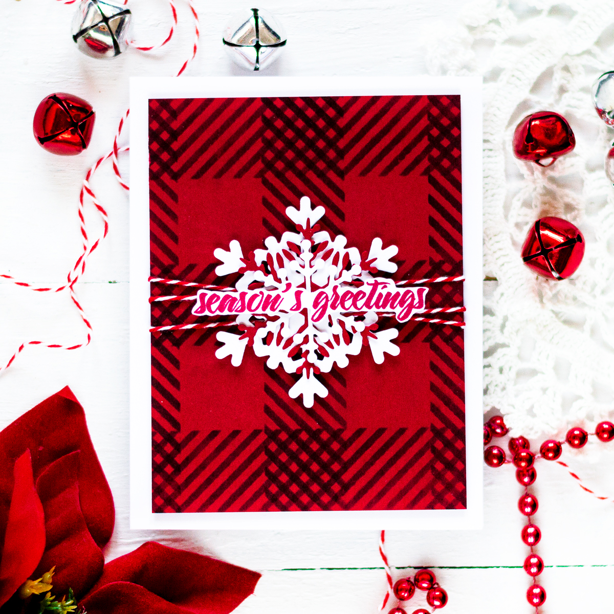 Cristmas Snowflake Card Ginhgam Background. Card by Svitlana Shayevich