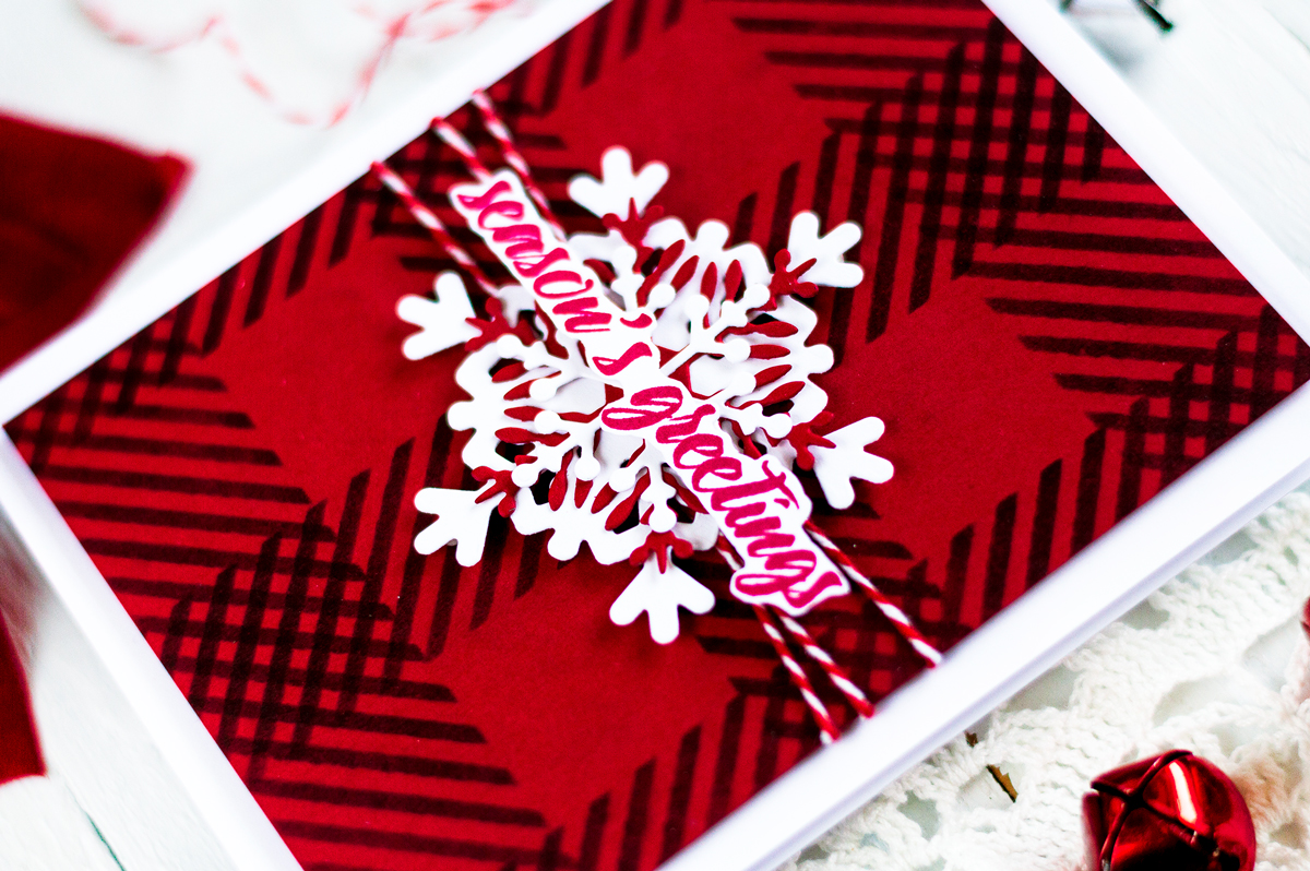 Christmas Snowflake Card Gingham Background. Card by Svitlana Shayevich